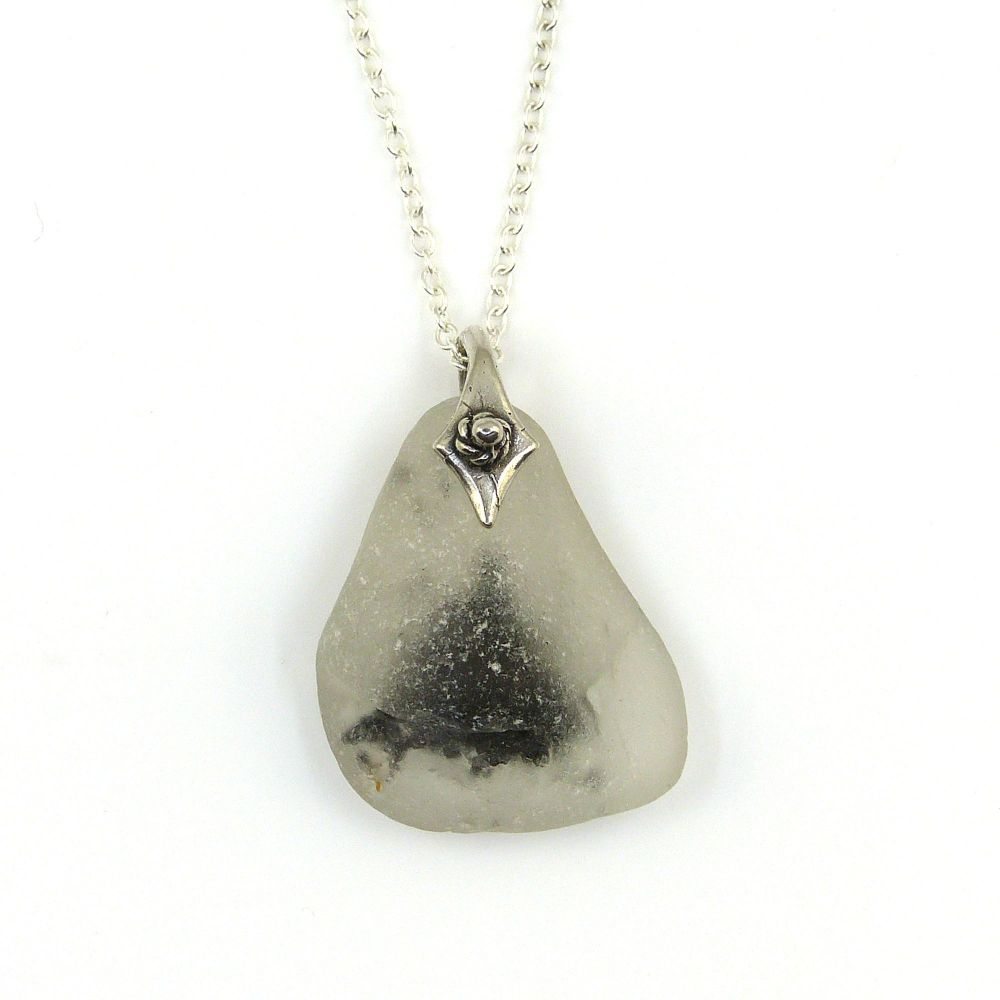 White Bonfire Sea Glass Sterling Silver Necklace ROBYN