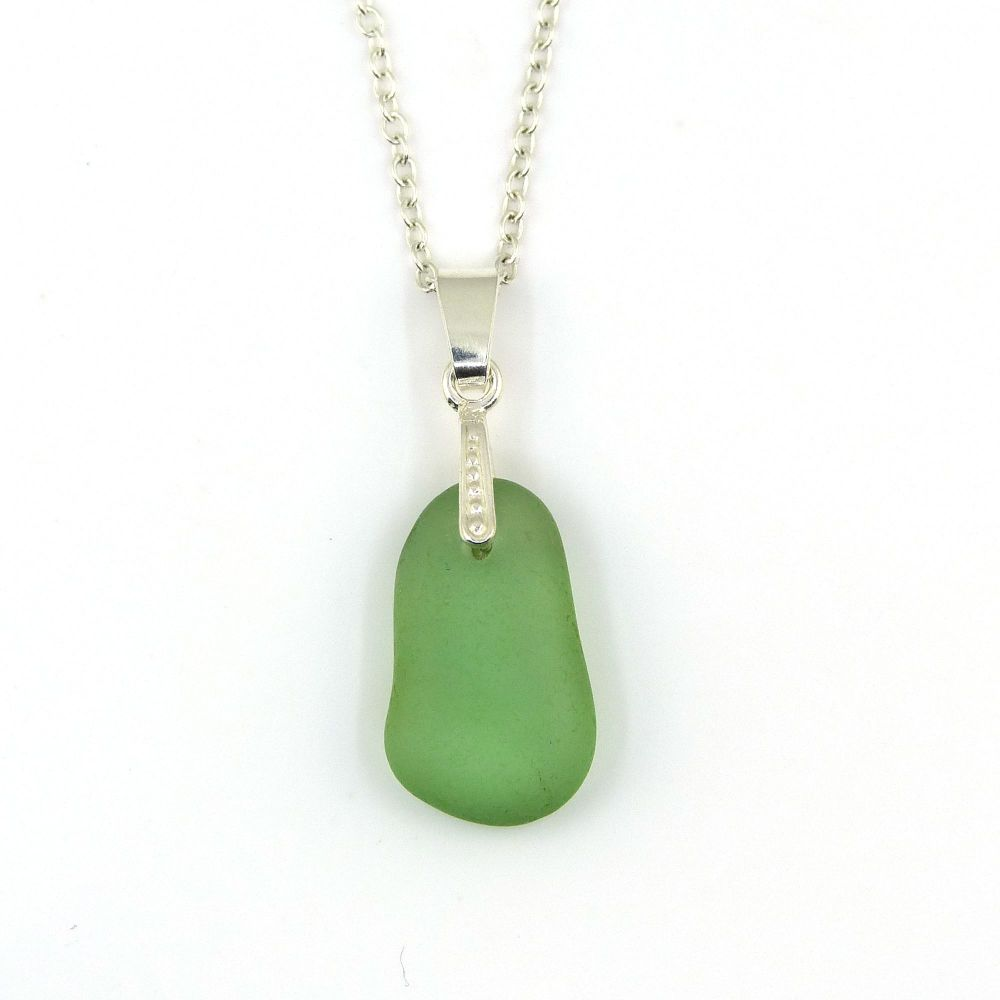 Pale Green Sea Glass Necklace ODILE