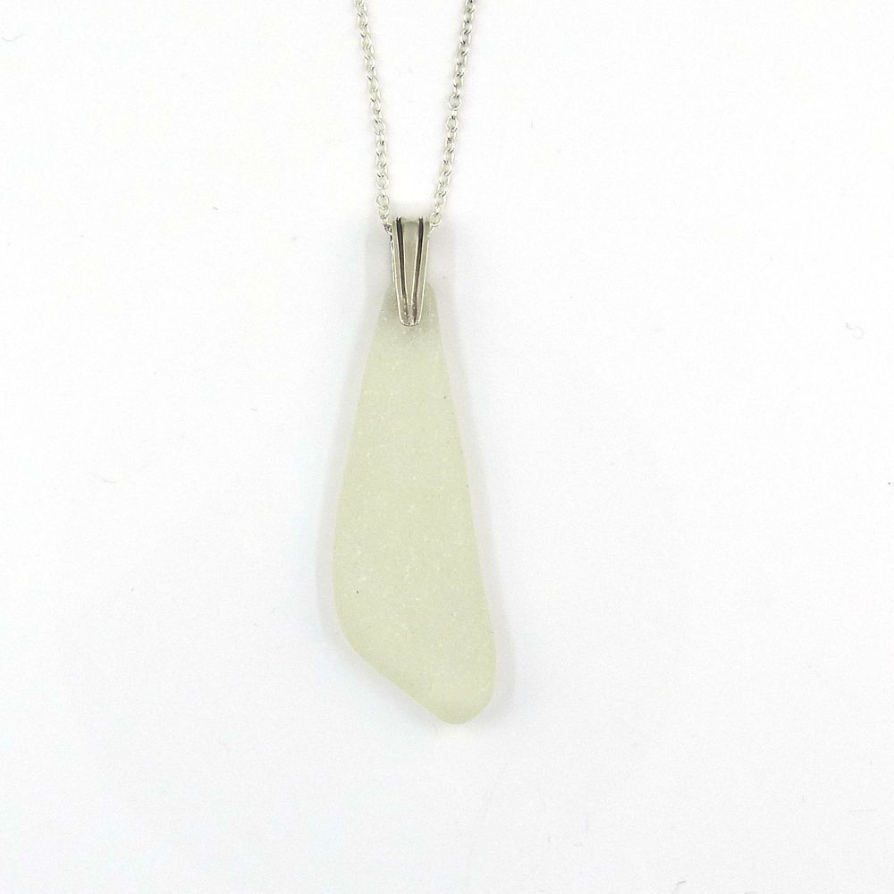 Green White Sea Glass on Sterling Silver Necklace LEONA