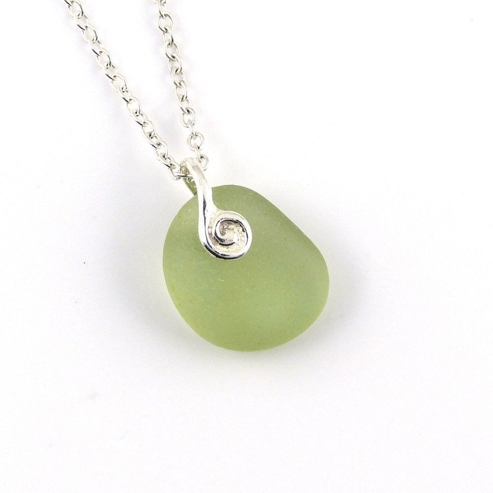 Pale Green Sea Glass and Silver Necklace JOSETTE