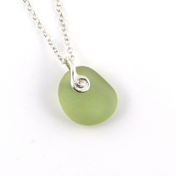 Pale Green Sea Glass and Silver Necklace JOSETTE