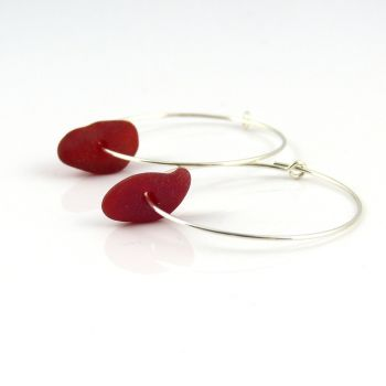 Seaham Deep Red Sea Glass and Sterling Silver Hoop Earrings e179