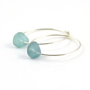 Pale Turquoise Sea Glass and Sterling Silver Hoop Earrings - Seaham Beach Sea Glass e177