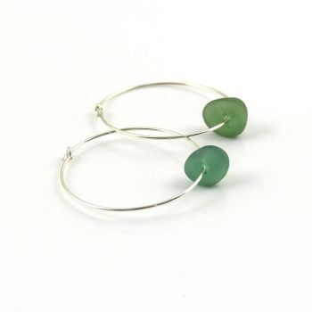 Sterling Silver Hoop Earrings, Green Blue Sea Glass, Seaham Sea Glass, e178