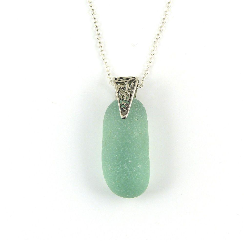 Teal Blue English Sea Glass Necklace FLORIA