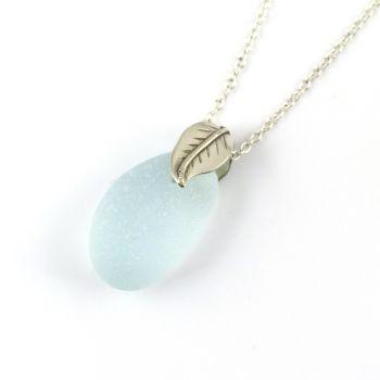Glacier Blue Sea Glass Necklace Sterling Silver Leaf Bail PETRA