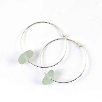 Sea Glass Earrings,  Sterling Silver Earrings , Seamist Sea Glass, Pale Blue Sea Glass