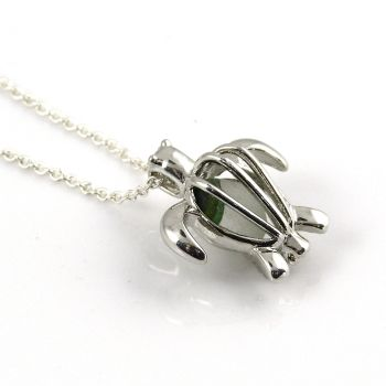Turtle Locket with Seaham Green and White Multi Sea Glass  L176
