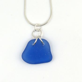 Sapphire Blue Sea Glass Necklace  LINA