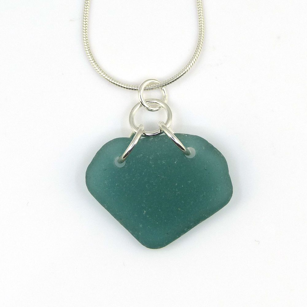Teal Green Sea Glass Necklace MILA