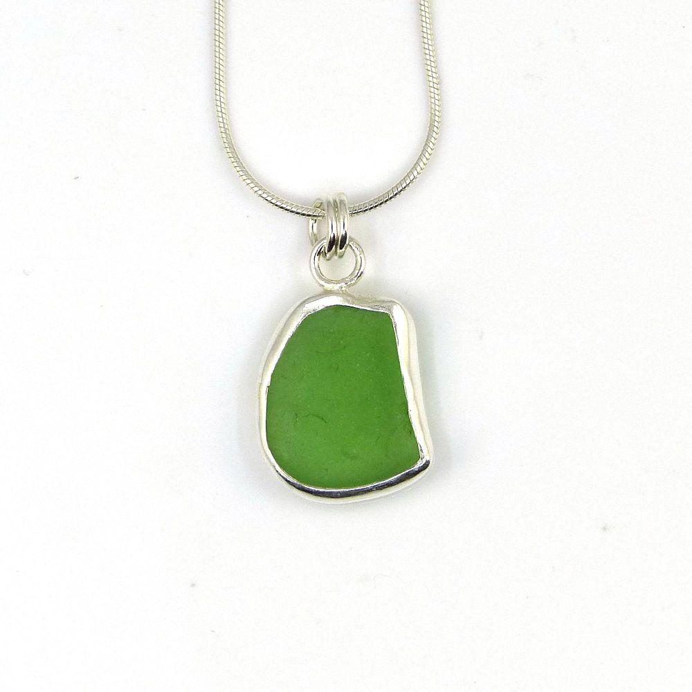 Emerald Green Sea Glass Pendant Necklace LUCETTE