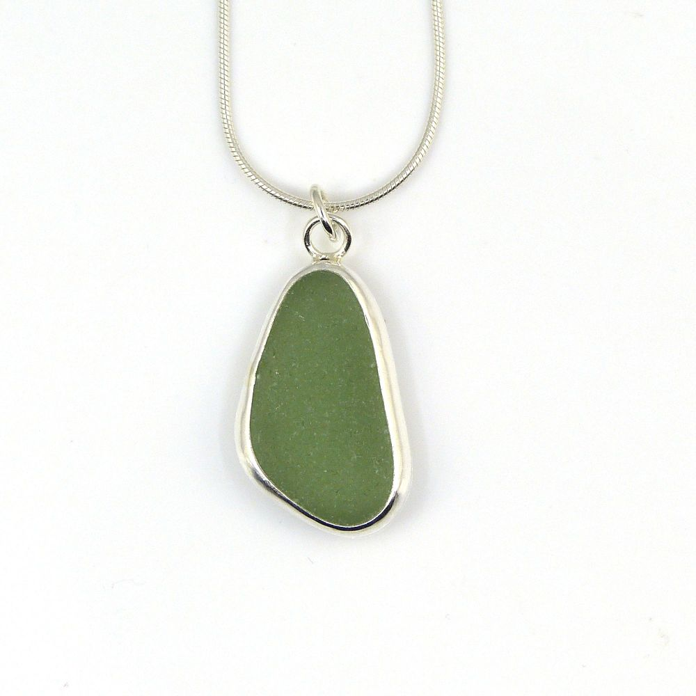 Bezel Set Teal Green Sea Glass Pendant Necklace FIRTH