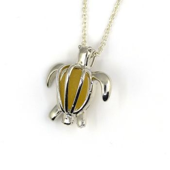 Turtle Locket with Yellow Gold Sea Glass