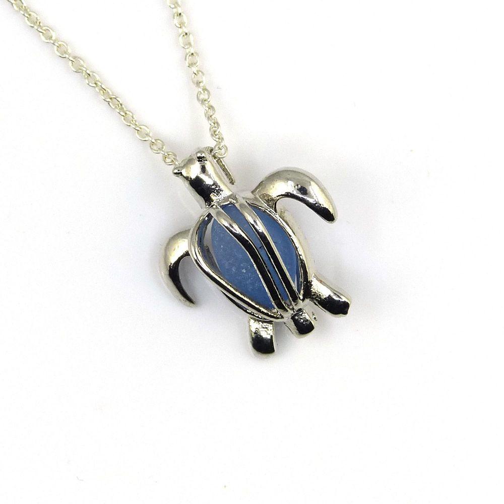 Silver Turtle Locket with Cornflower Blue Sea Glass