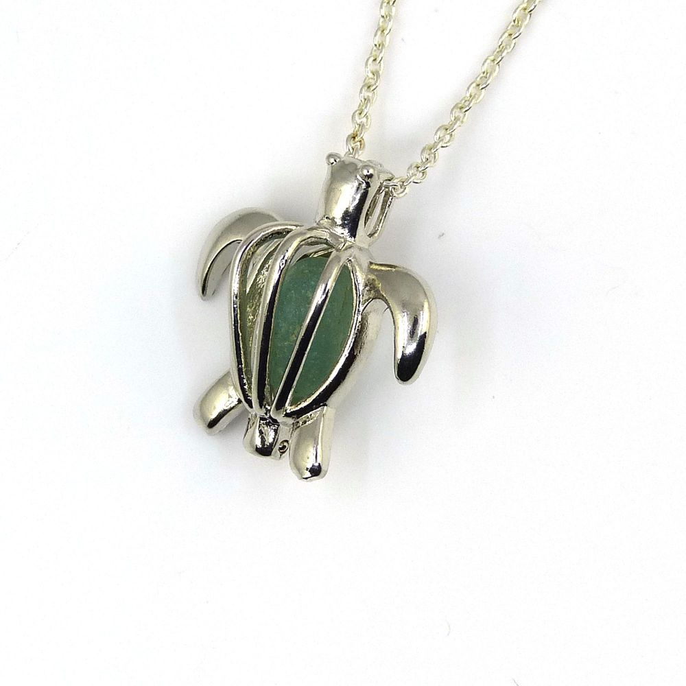 Turtle Locket with Pale Sage Green Sea Glass