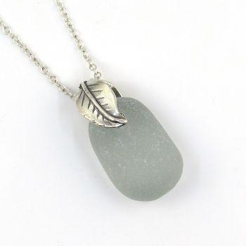 Rare Grey Sea Glass Necklace - Olivia