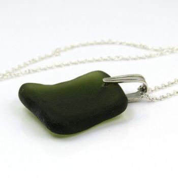 Hunter Green Sea Glass Necklace TAHLIA