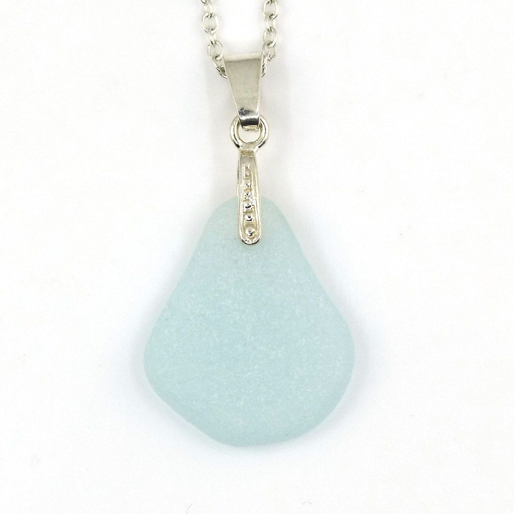 Baby Blue Sea Glass Necklace CAYLA