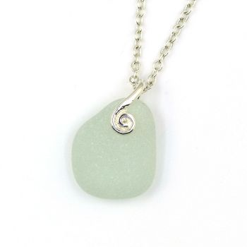 Seamist Sea Glass and Sterling Silver Necklace HANNA