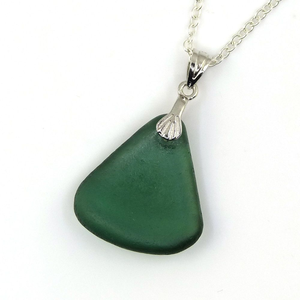 Sea Glass Necklace Forest Green AMELIE