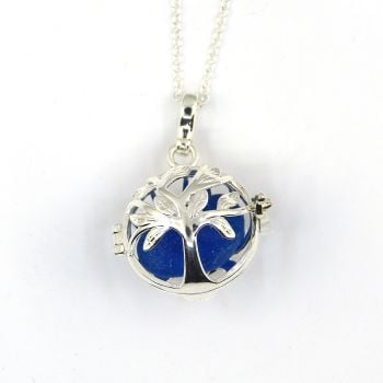 Cobalt Blue Sea Glass Tree of Life Locket Necklace L189