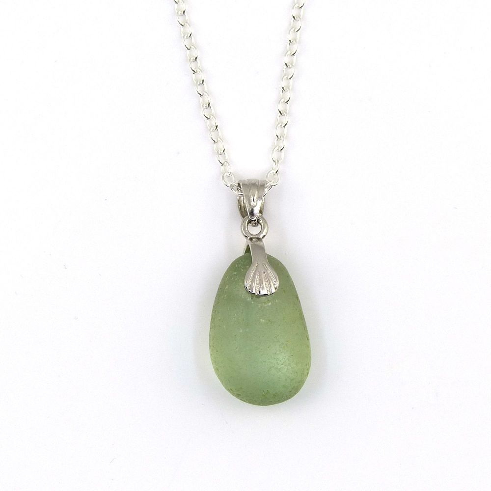 Pale Sage Green Sea Glass and Silver Necklace PIPER