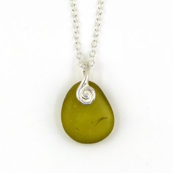 Deep Citron Sea Glass and Sterling Silver Necklace BELLA