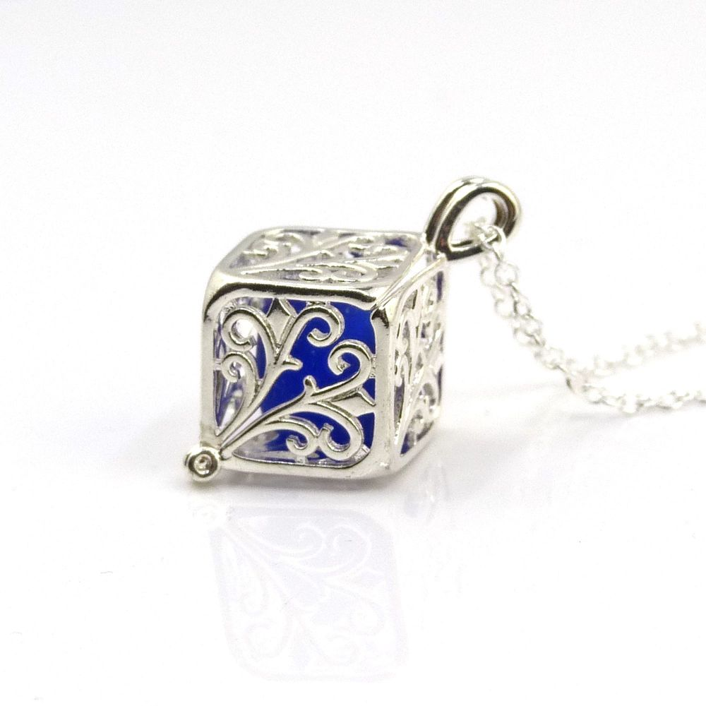 Cobalt  Blue Sea Glass Filigree Box Locket Necklace