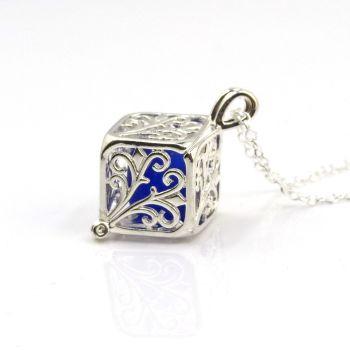 Cobalt  Blue Sea Glass Filigree Box Locket Necklace L196