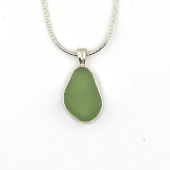 Bezel Set Sea Green Sea Glass Pendant Necklace AMELIE