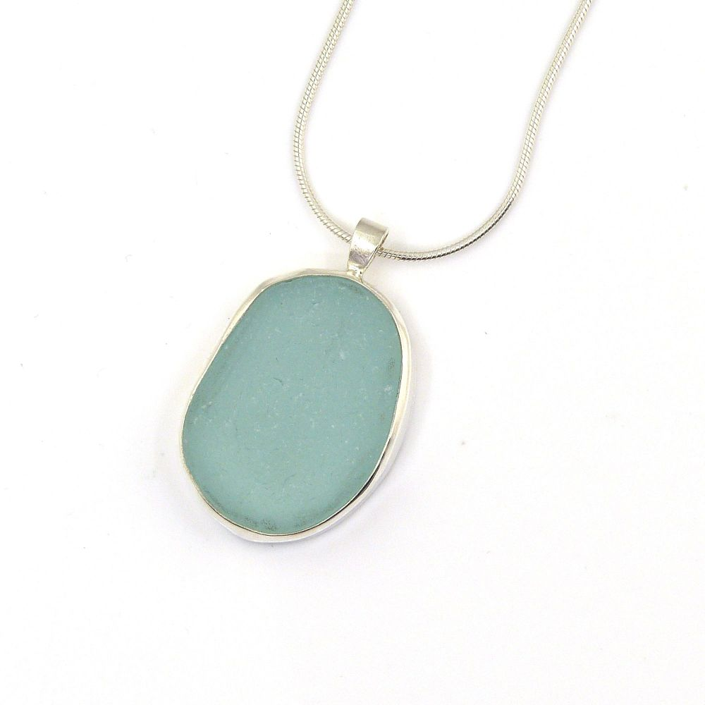 Aqua Sea Glass Pendant Necklace TORI