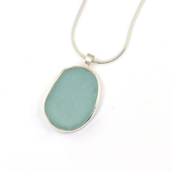 Bezel Set Aqua Sea Glass Pendant Necklace TORI