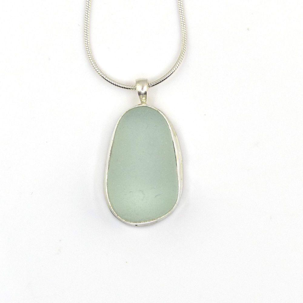 Bezel Set Seafoam Sea Glass Pendant Necklace TILDA