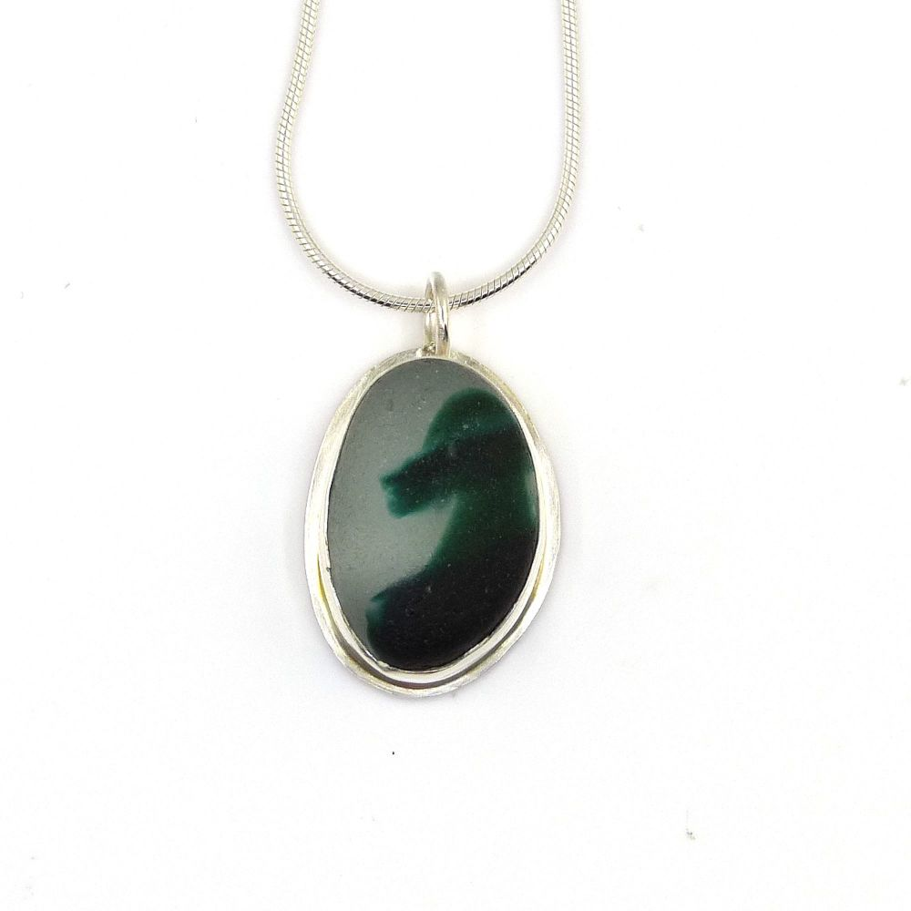 Bezel Set Seaham Dark Teal Multi Sea Glass Pendant Necklace SIREN