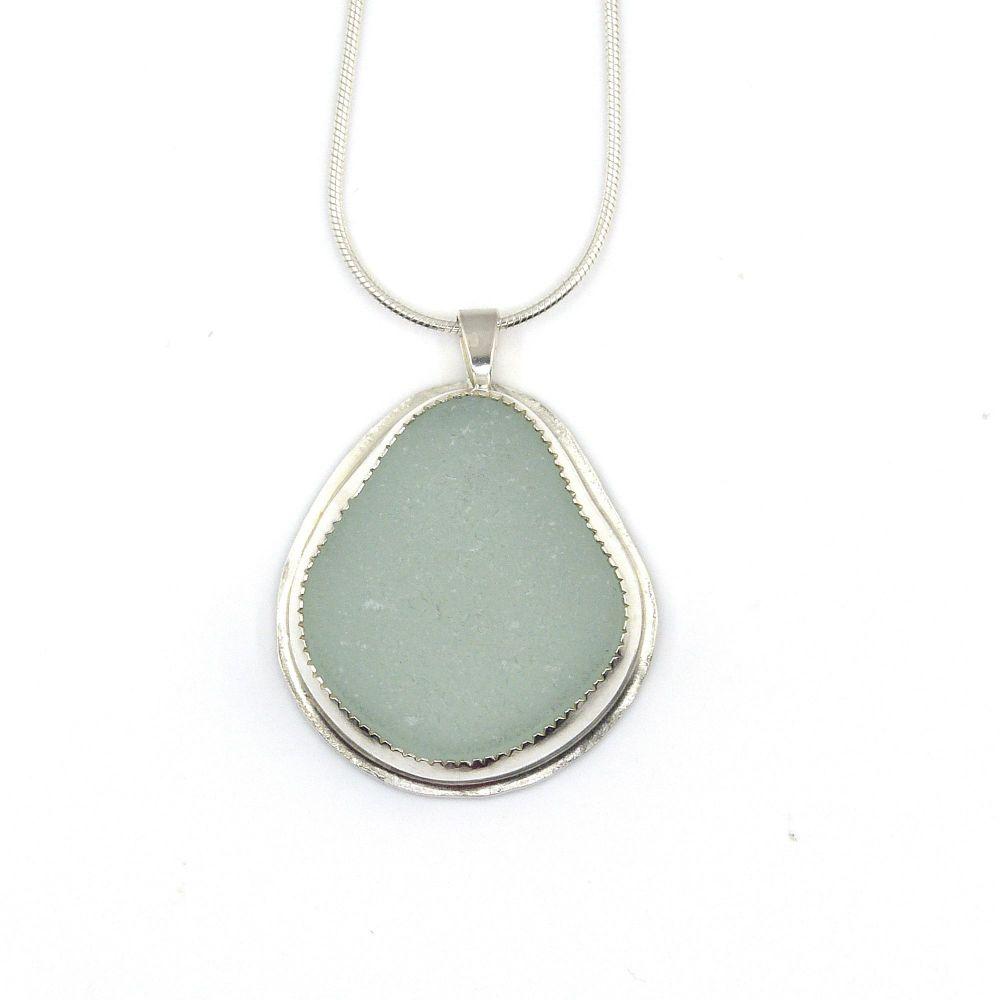 Aqua Sea Glass Pendant Necklace ZURI