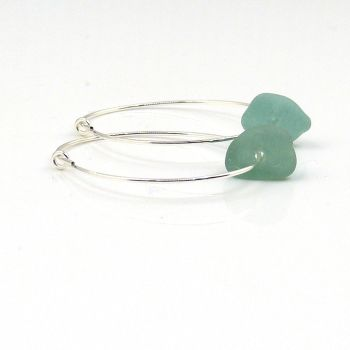 Turquoise Sea Glass and Sterling Silver Hoop Earrings - Seaham Beach Sea Glass