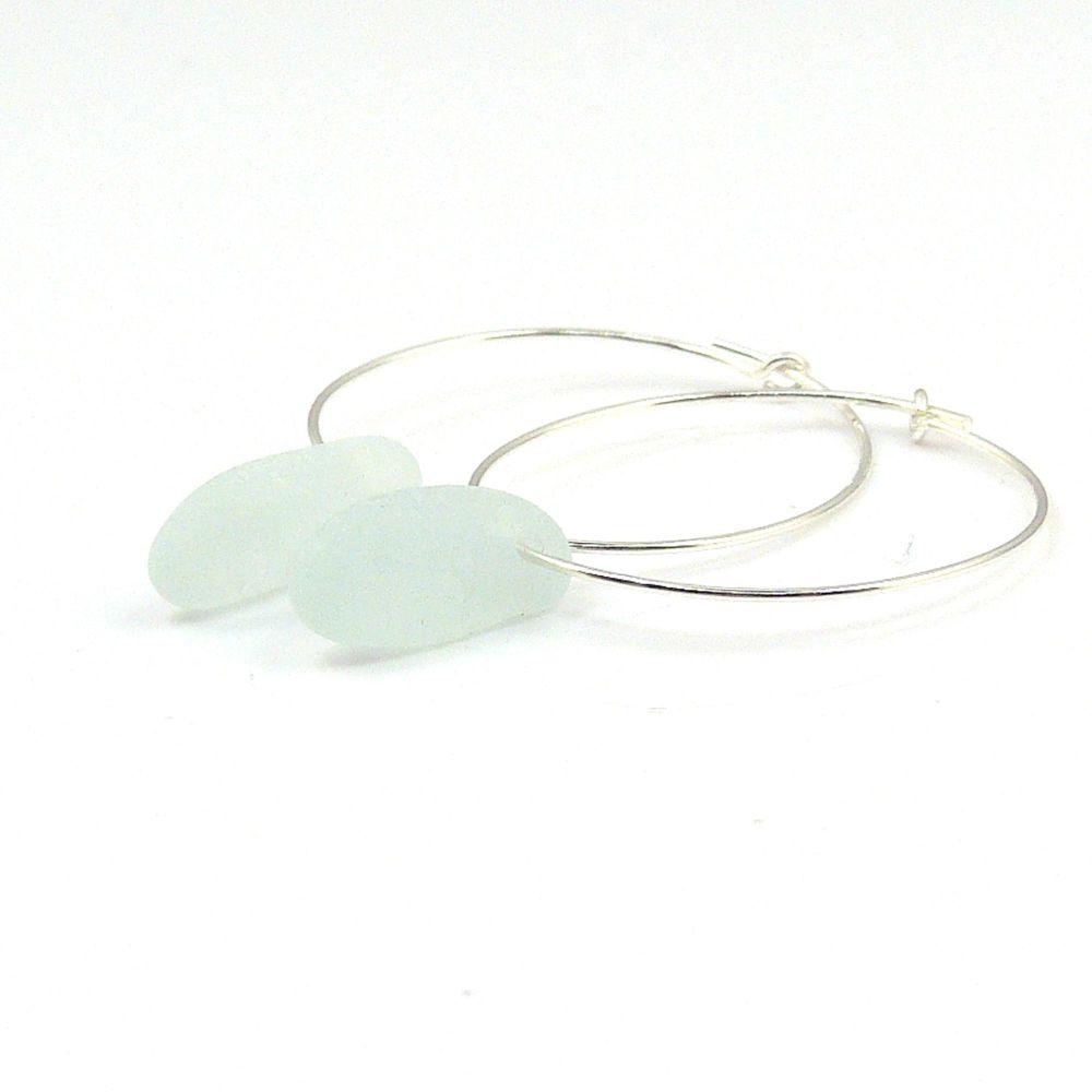 Seaham Pale Blue  Sea Glass Sterling Silver Earrings