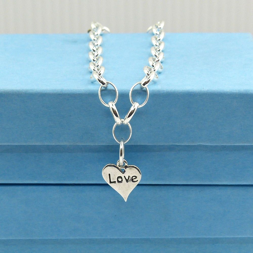 Sterling Silver Bracelet with Love Heart Charm