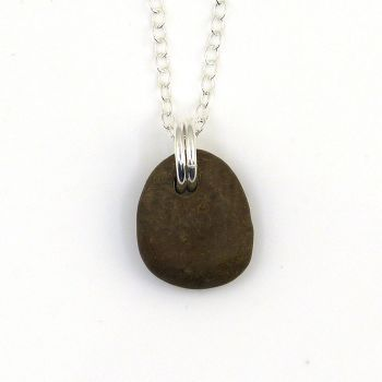 Tiny Brown Pebble Necklace