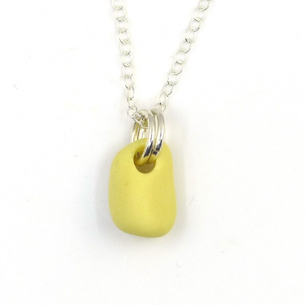 Pastel Yellow and White Milk Glass and Sterling Silver Necklace