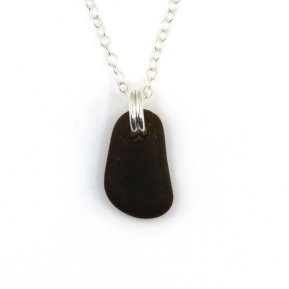 Tiny Black Sea Glass and Sterling Silver Necklace
