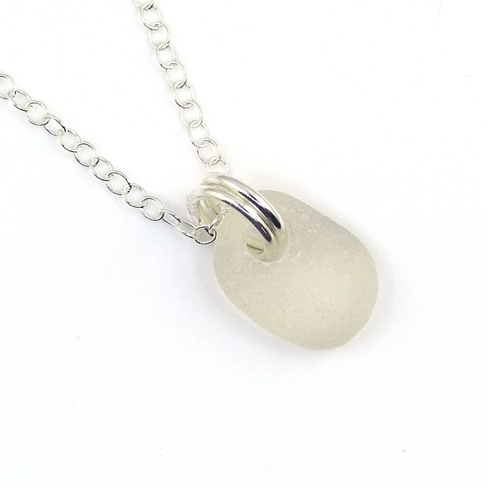 Tiny White Sea Glass and Sterling Silver Necklace
