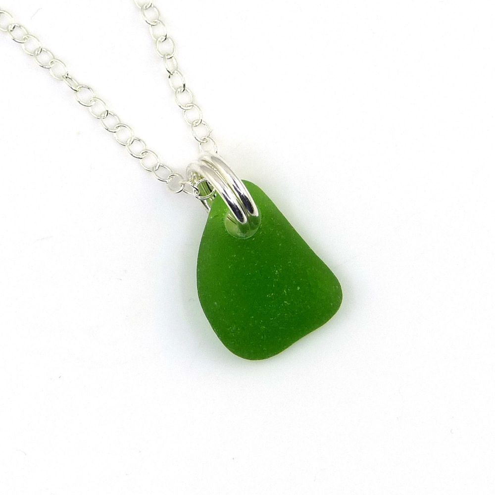 Tiny Emerald Green Sea Glass and Sterling Silver Necklace