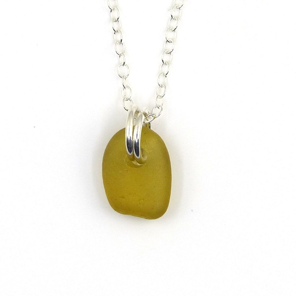 Tiny Peridot Sea Glass and Sterling Silver Necklace