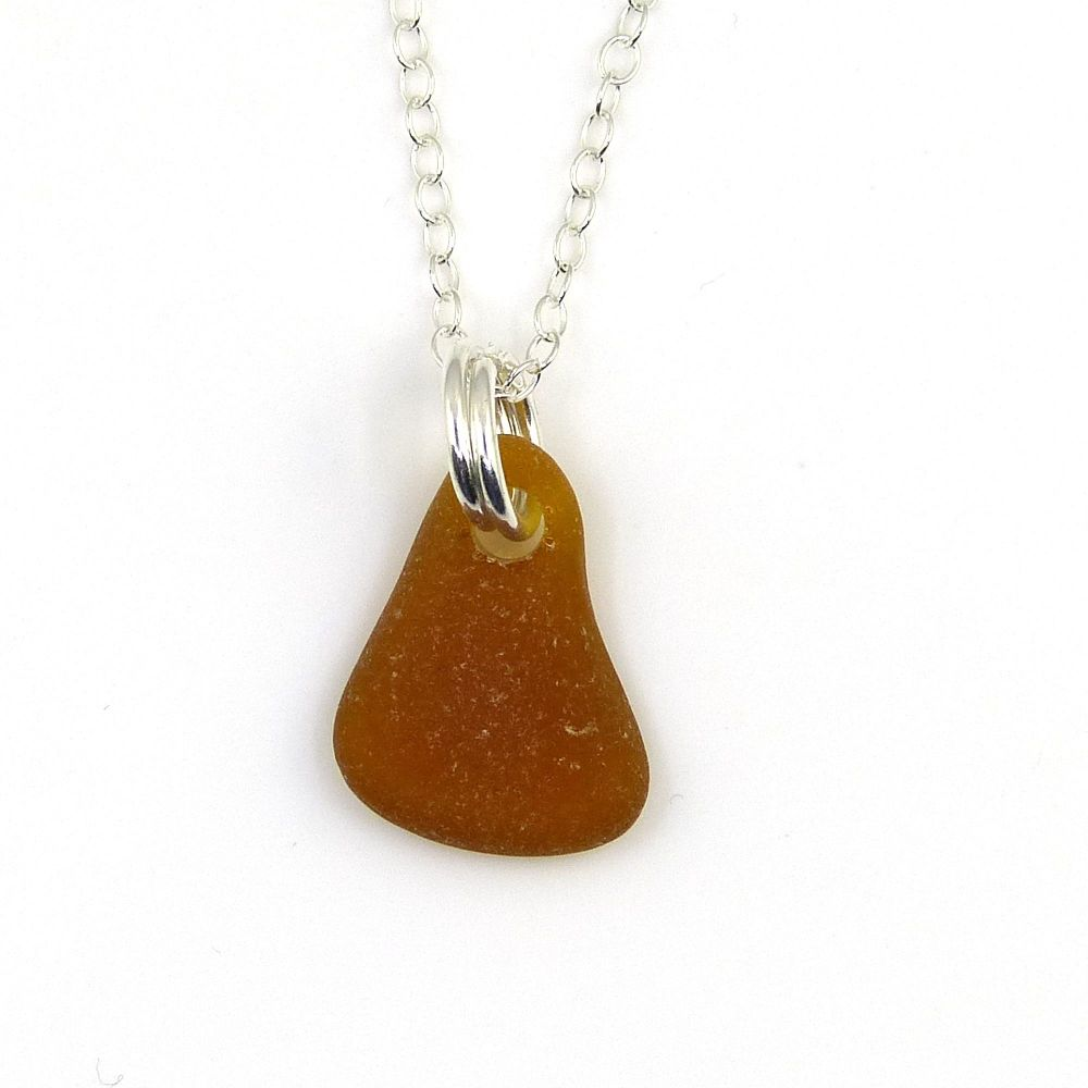 Tiny Amber Sea Glass and Sterling Silver Necklace