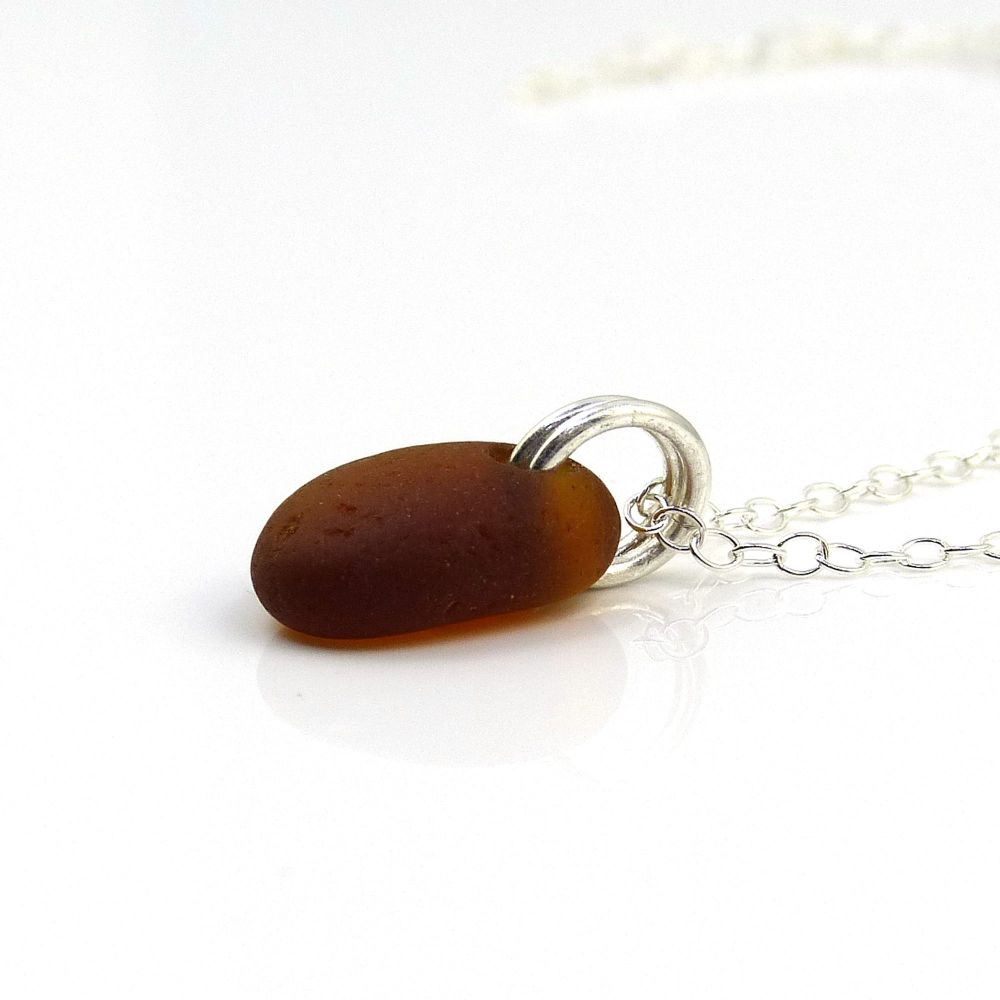 Tiny Dark Amber Sea Glass and Sterling Silver Necklace
