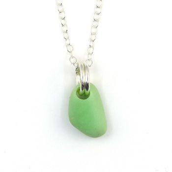Tiny Pastel Green Milk Glass and Sterling Silver Necklace