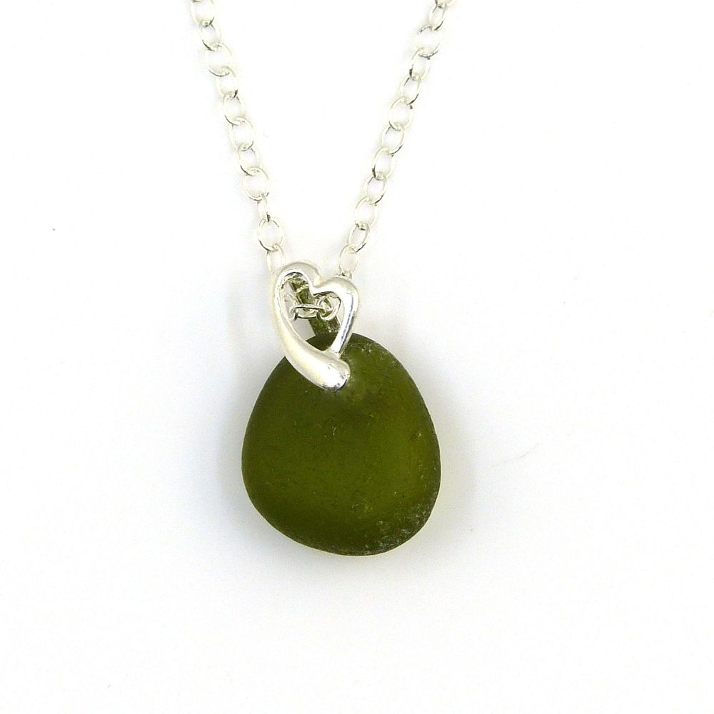 Green Sea Glass and Sterling Silver Heart Necklace KATIA