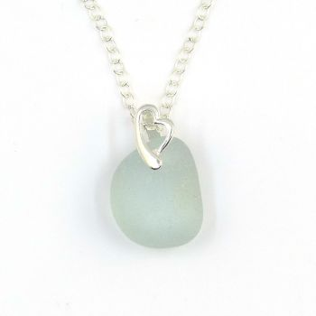 Pale Blue Sea Glass and Sterling Silver Heart Necklace JESSICA