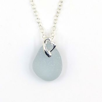 Powder Blue Sea Glass and Sterling Silver Heart Necklace HAILEY